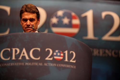 Gov. Rick Perry speaks at a Conservative Political Action Committee meeting during his ill-fated 2012 presidential campaign.