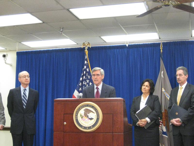 Health and Human Services Deputy Secretary Bill Corr speaks to press at the Earle Cabell Federal Building in Dallas Tuesday.