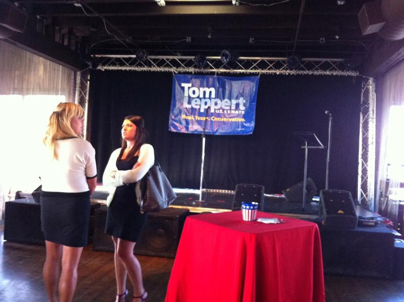 Early arrivals wait for Tom Leppert to arrive at his watch party.