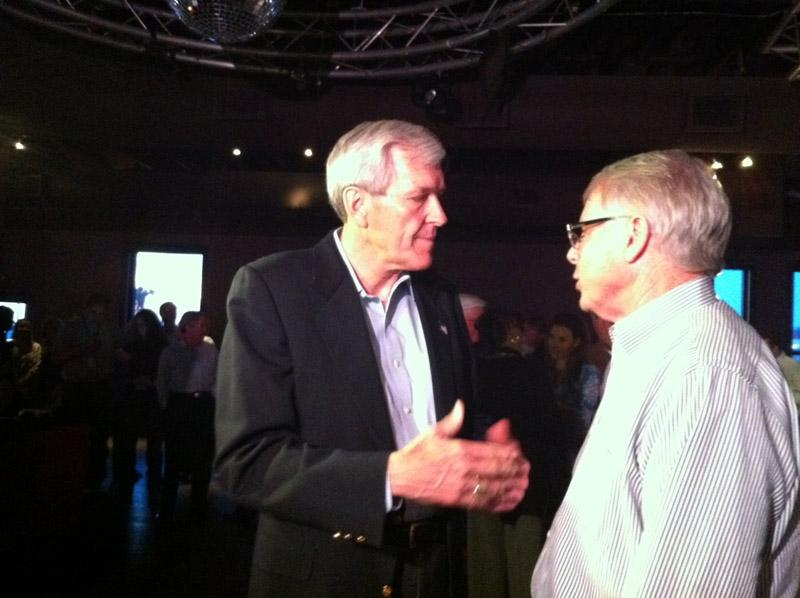 Former Dallas Mayor and Republican candidate for U.S. Senate Tom Leppert speaks with a supporter Tuesday,