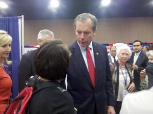 Lt. Governor David Dewhurst talks with delegates at the state Republican convention.