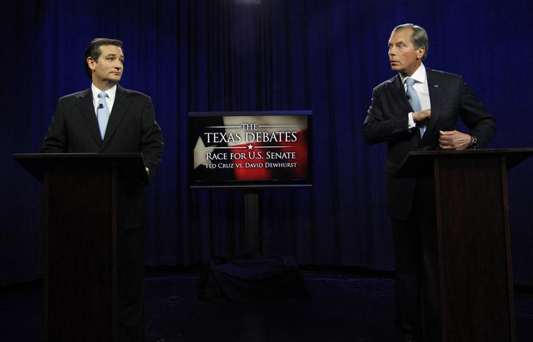 Ted Cruz, left, and Lt. Gov. David Dewhurst exchange a tense glance during the debate Friday at KERA studios.