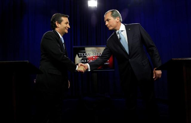 Lt. Gov. David Dewhurst, right, debated his opponent for U.S. Senate Ted Cruz this summer at KERA studios. Dewhurst lost the race.