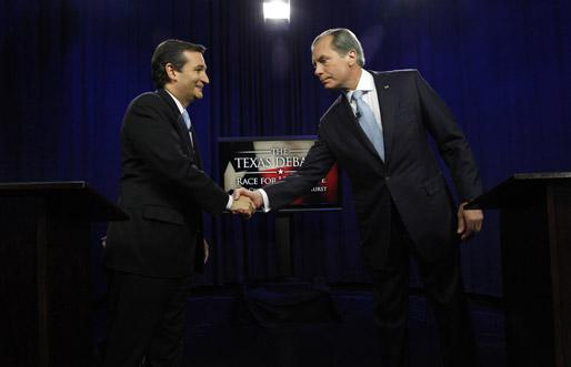Ted Cruz, left, shakes hands with Lt. Gov. David Dewhurst as both Republicans prepare to square off in a debate broadcast live from KERA studios Friday.