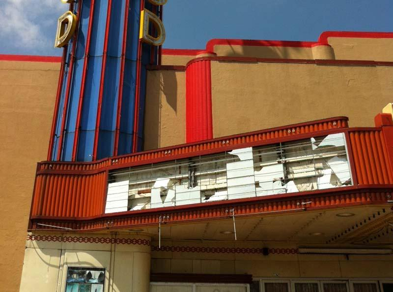 The hailstorm Wednesday wrecked the marquee at the Lakewood Theater.