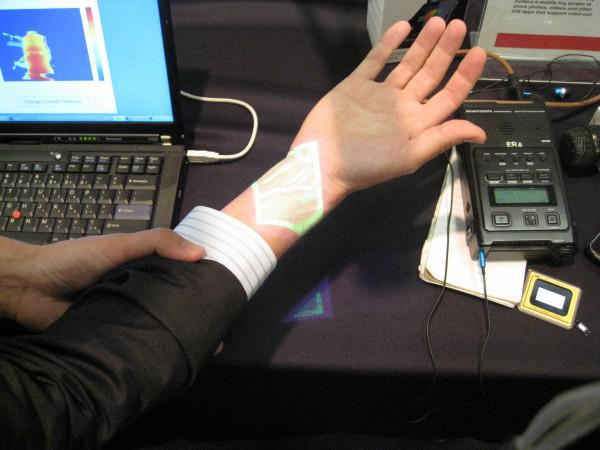 Demonstrating medical use of TI's DLP technology. Green lines are veins.