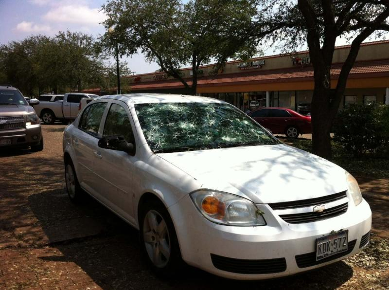 Stanley George's windshield was among the damage caused by Wednesday's storm.