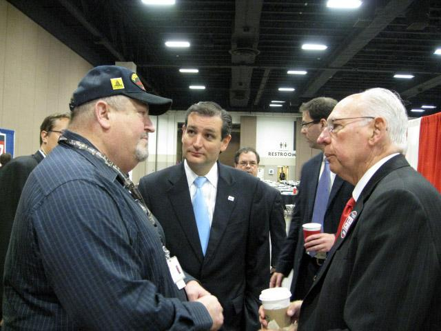 Cruz's father (right) joins him during campaign.