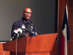 Dallas Police Chief David Brown briefs reporters on the South Dallas shooting and riot officer response.