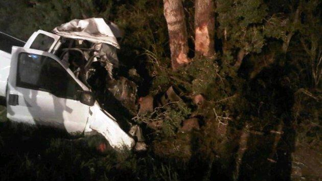 Authorities say 23 people were packed into the pickup when it ran off the road and crashed into trees.