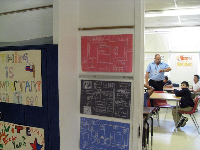 Student map drawings outside class taught by Mel Vera