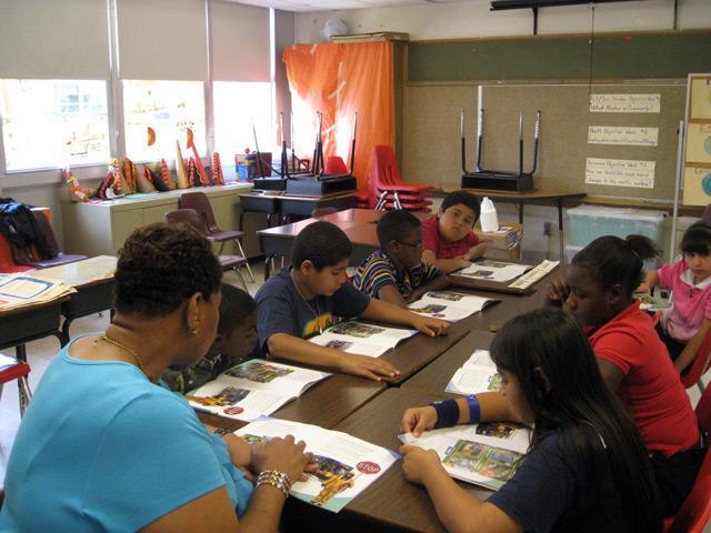 Gloria Pegram and her social studies class