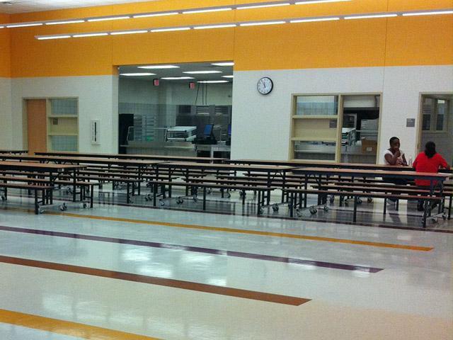 Cafeteria in DISD's new Adelfa Callejo elementary school.