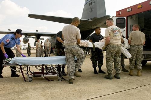 A Texas Air National Guard C-130 Hercules carrying 23 evacuees from Beaumont, Texas in 2008 as Hurricane Gustav approached the Gulf Coast.