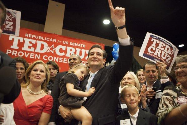 Ted Cruz and his family celebrate Republican U.S. Senate win.