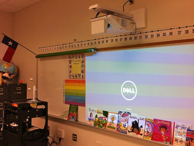 "Interactive ""white board"" in 2nd grade classroom of new school."