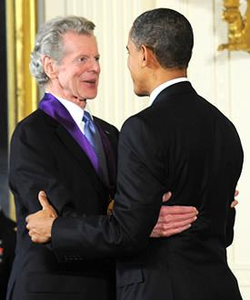 Van Cliburn receives the National Medal of Arts from President Barack Obama at the White House on March 2, 2011.