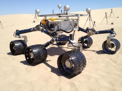 Mars Science Laboratory mission team members ran mobility tests on California sand dunes in early May 2012 in preparation for operating the Curiosity rover.