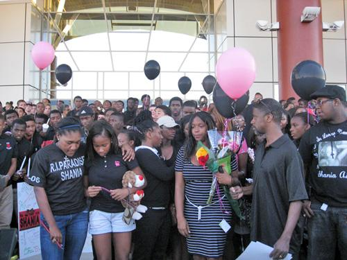 Students at Horn High School, getting ready for vigil.