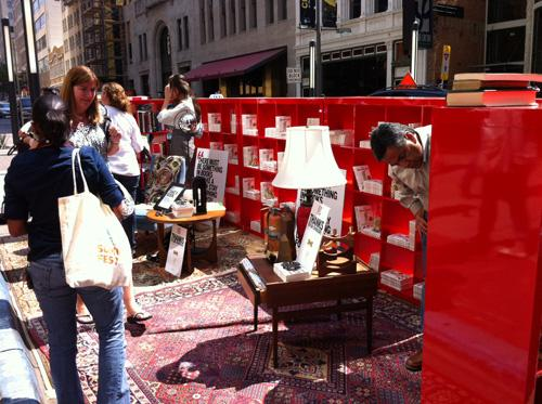 Free books at D Magazine's PARK(ing) Day space on Main Street in downtown Dallas