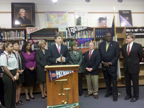 Gov. Rick Perry unveiled his higher education affordability plan at Thomas Jefferson High School in Dallas on Monday.