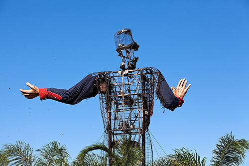 Big Tex, after the fire and before he was dismantled Friday. Only his hands survived.
