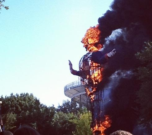 This image, posted on twitter this morning, shows Big Tex on fire.