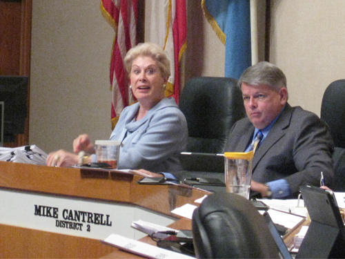 Republican Dallas County Commissioners Maurine Dickey, Mike Cantrell