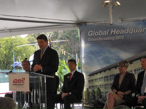 Texas Governor Rick Perry at Bell groundbreaking,