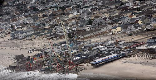A big chunk of the amusement park at Seaside Heights, N.J., rests in the Atlantic Ocean after the superstorm Sandy.