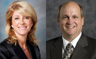 Wendy Davis (left), Mark Shelton