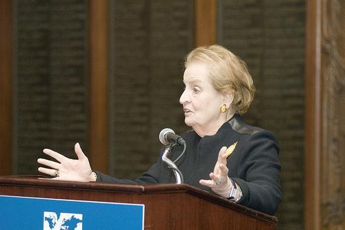 Former Secretary of State Madeline Albright speaks in 2008.