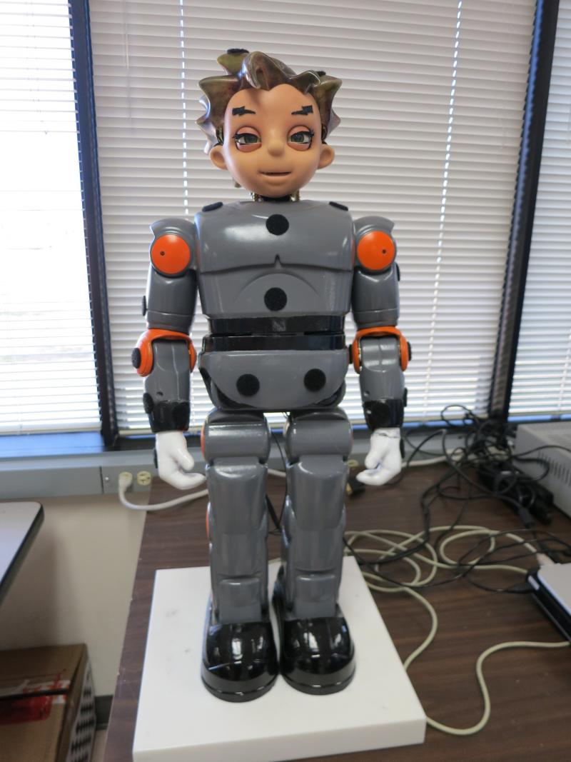 The ZENO robot model. The University of Texas at Arlington's Research Institute (UTARI) hopes to add sensors and other enhancements to ZENO as a tool for diagnosing autism in toddlers and infants.