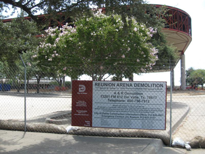 Reunion Arena shortly before implosion, 2009
