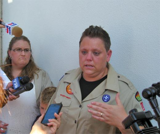 Jennifer Tyrrell, right, protested the Boy Scouts' decision to kick her out of the organization alongside her partner Alicia Burns in Irving this summer.