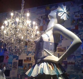 """A 2008 Neiman Marcus window display in downtown Dallas featured a dress made of credit cards. Appropriate for the store featured in the 1983 documentary 'The Store."""""""