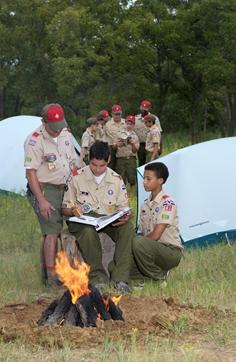 Scouts by campfire