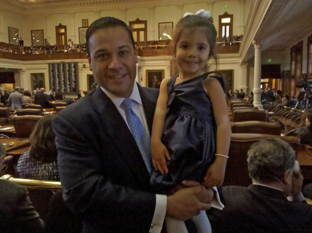 Rep. Jason Villalba, a Dallas County Republican, with daughter Elena in the Texas House of Representatives.