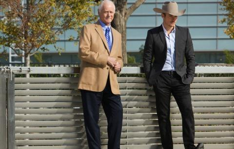 The late Larry Hagman, left, and Jesse Metcalfe wait on the set of 'Dallas' as two generations of Ewings.