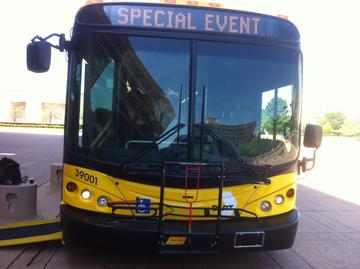 DART's new, 40-foot long CNG bus is less polluting, has increased visiblity for passengers, and roomier asiles.