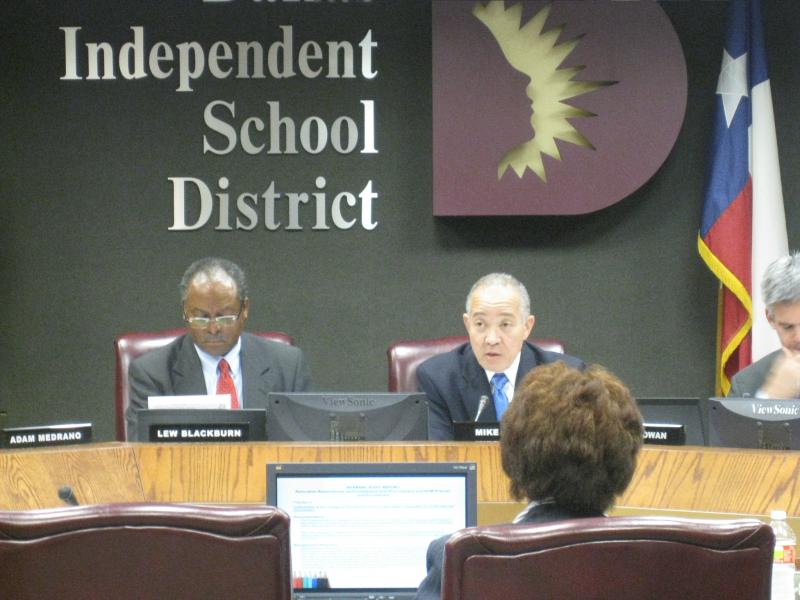Dallas Superintendent Mike Miles, DISD Board President Lew Blackurn to his right