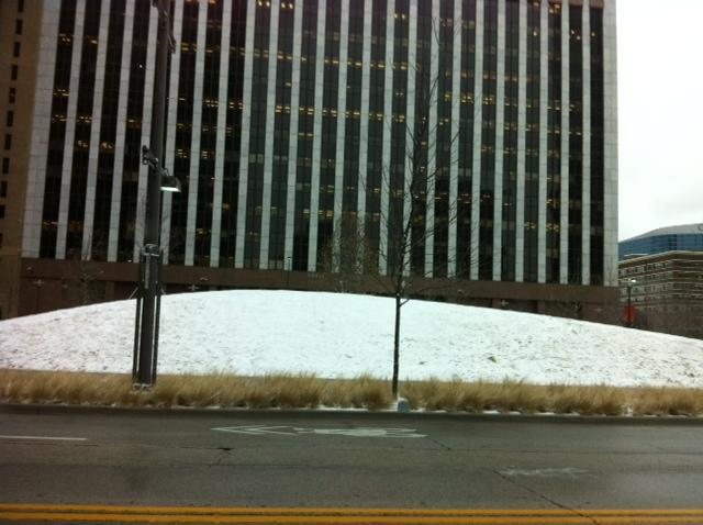 Yep, that's a snow-covered hill in front of the Federal Building this morning.
