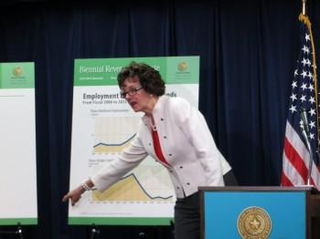 Texas Comptroller Susan Combs announced state budget estimates Monday.