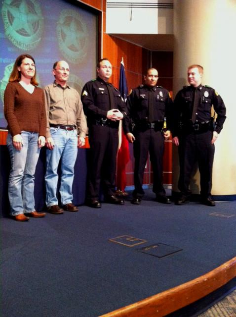 Police Chief David Brown introduced the group as heroes after they dove into Bachman Lake to save a driver whose car had plunged into the cold water. (l-r) Denise McElroy, Mark Sorley, Sgt. Matt Williamson, Officer Ryan Mabry, Officer Sean Mock