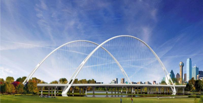 The Margaret McDermott Calatrava bridge was scaled back from its original arches spanning the vehicular I-30 bridge because of cost concerns.  But, even the more modest pedestrian and bicycle lanes came in $12 million over budget.