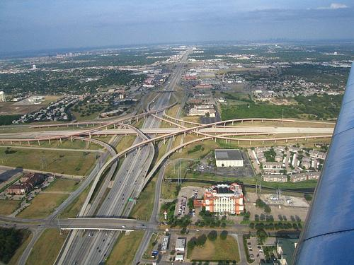 "Visitors landing at Dallas Fort-Worth airport are met with this first impression. ""Interesting highway interchange,"" as this flickr user puts it."