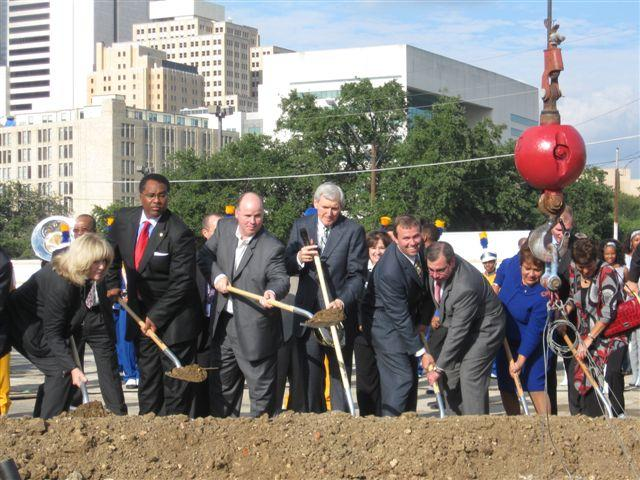 City Manager Mary Suhm (far left) at groundbreaking for the Dallas Convention Center Hotel (2009). Suhm's career with the city spans 30 years; from branch library manager to top administrator.