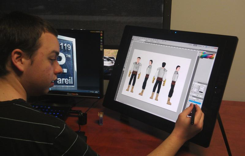 One nonPareil student works on a character design after lunch.