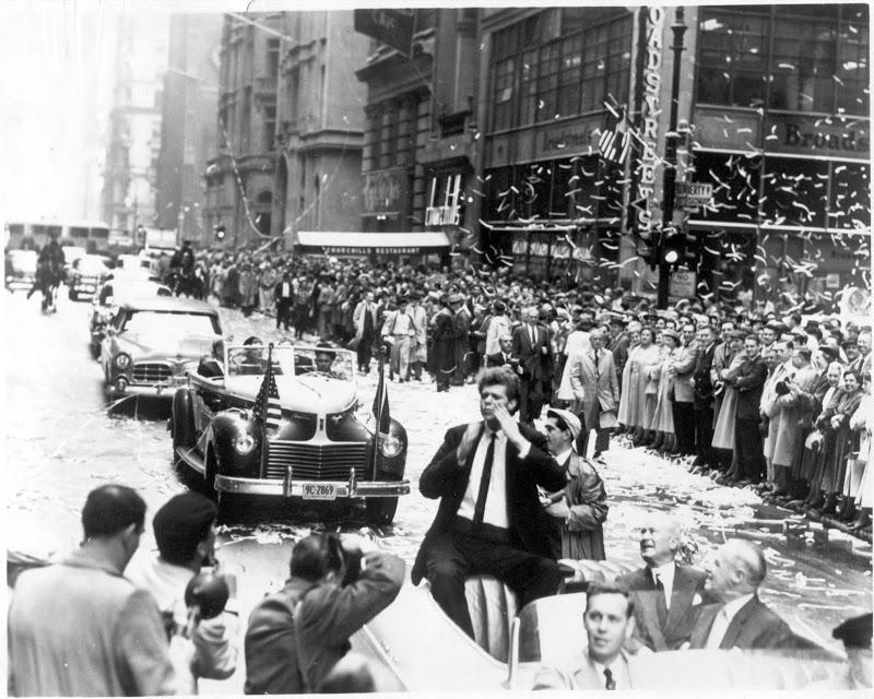 Van Cliburn greets fans at his ticker tape parade on Broadway in April 1958. New York had not seen anything like it since Charles A. Lindbergh was so honored a generation earlier.