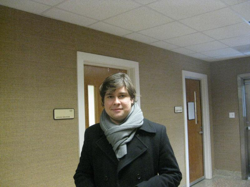 TCU pianist Mikhail Berestnev, having finished his performance in front of the audience and Cliburn judges